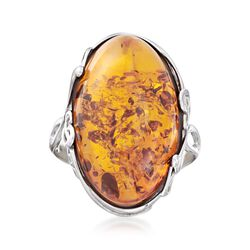 Orange Amber Ring in Sterling Silver, , default