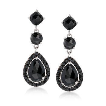 5.90 ct. t.w. Black Spinel Drop Earrings in Sterling Silver , , default