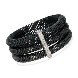 """ALOR """"Kai"""" .35 ct. t.w. Diamond Black Cable Stretch Bracelet With 18kt White Gold, , default"""