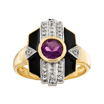 .70 Carat Amethyst and .10 ct. t.w. White Topaz Ring with Black Enamel in 18kt Gold Over Sterling, , default