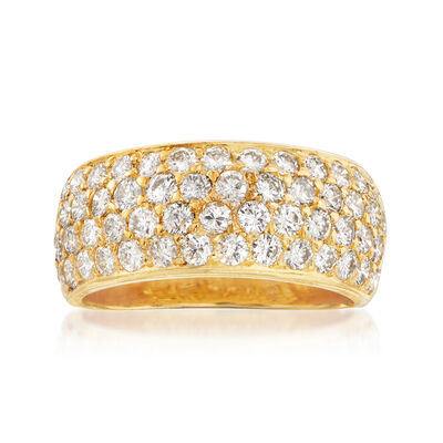 C. 1980 Vintage 2.05 ct. t.w. Pave Diamond Band in 18kt Yellow Gold, , default