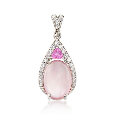 Rose Quartz Doublet Pendant With Pink Sapphire and White Topaz in Sterling Silver, , default