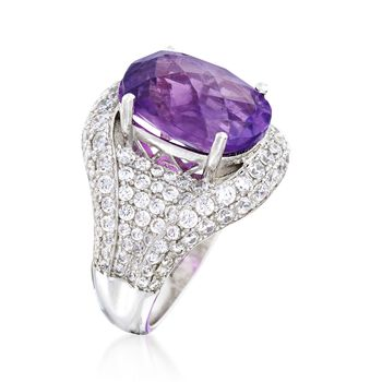 5.50 Carat Amethyst and 3.08 ct. t.w. White Zircon Ring in Sterling Silver, , default