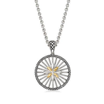 "Andrea Candela ""Radiante"" Sterling Silver and 18kt Yellow Gold Pendant Necklace, , default"