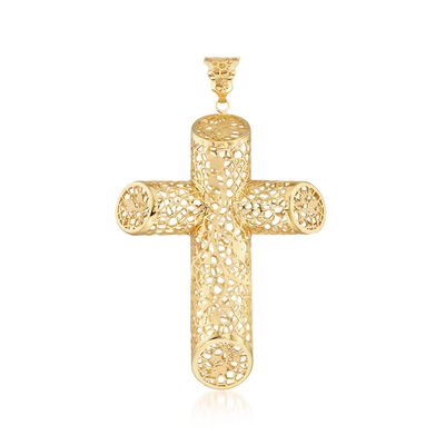 Italian 18kt Yellow Gold Brushed and Polished Angled Filigree Cross Pendant, , default