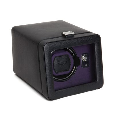 """Windsor"" Black and Purple Single Watch Winder with Cover by Wolf Designs, , default"