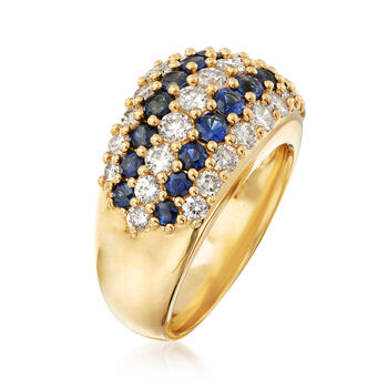 C. 1980 Vintage 1.47 ct. t.w. Sapphire and 1.73 ct. t.w. Diamond Multi-Row Ring in 18kt Yellow Gold. Size 6.75