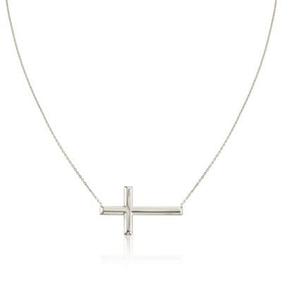 Sterling Silver Sideways Cross Necklace, , default