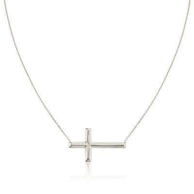 Sterling Silver Sideways Cross Necklace, , default
