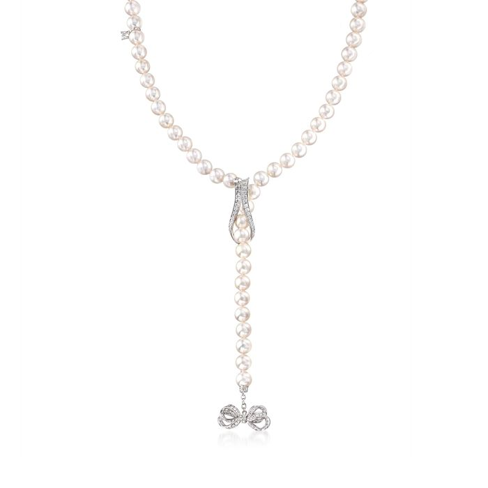 Mikimoto 7.5-8mm A+ Akoya Pearl Necklace with .98 ct. t.w. Diamond Ribbon in 18kt White Gold