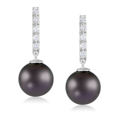 9-10mm Black Cultured Tahitian Pearl and .10 ct. t.w. Diamond Drop Earrings in 14kt White Gold