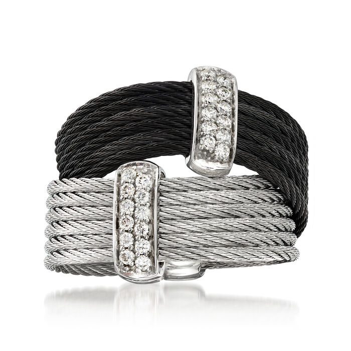 """ALOR """"Noir"""" Collection .20 ct. t.w. Diamond Two-Tone Stainless Steel Cable Ring in 18kt White Gold. Size 7, , default"""