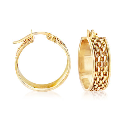 14kt Yellow Gold Bismark-Link Hoop Earrings, , default