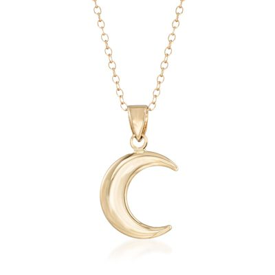 14kt Yellow Gold Crescent Moon Pendant Necklace, , default