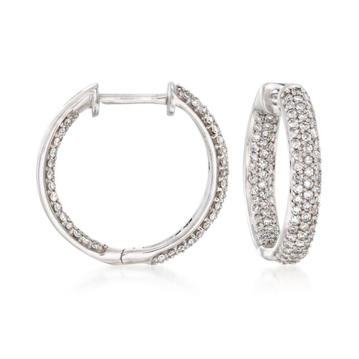 ".50 ct. t.w. Pave Diamond Inside-Outside Hoop Earrings in 14kt White Gold. 5/8"", , default"