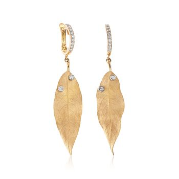 Simon G. .20 ct. t.w. Diamond Leaf Drop Earrings in 18kt Yellow Gold , , default