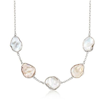 14-22mm Cultured Keshi Pearl Station Necklace in Sterling Silver , , default
