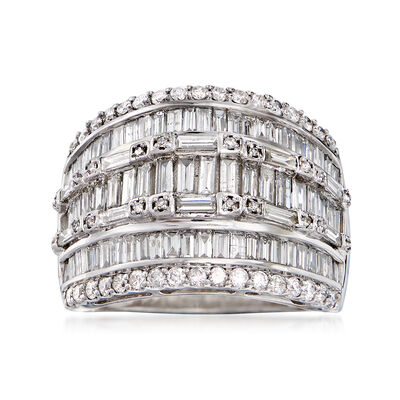 2.00 ct. t.w. Baguette and Round Diamond Three-Row Ring in 14kt White Gold, , default