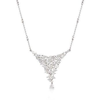 "3.92 ct. t.w. Diamond Cluster Bib Necklace in 14kt White Gold. 18"", , default"