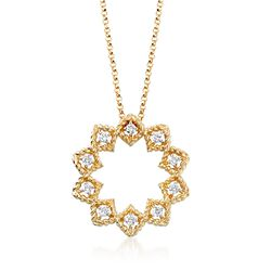 "Roberto Coin ""Barocco"" .22 ct. t.w. Diamond Medium Open Starburst Pendant Necklace in 18kt Yellow Gold, , default"