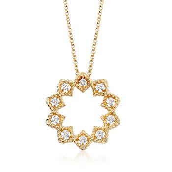 "Roberto Coin ""Barocco"" .22 ct. t.w. Diamond Medium Open Starburst Pendant Necklace in 18kt Yellow Gold. 16.5"", , default"