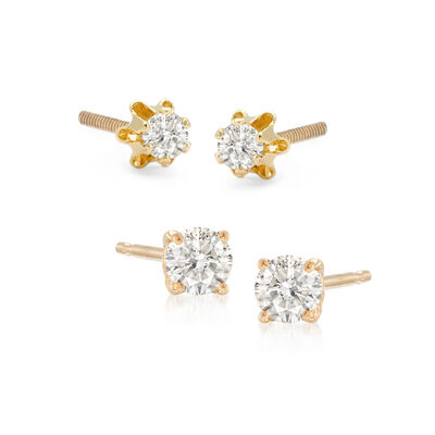 Mom & Me .33 ct. t.w. Diamond Stud Earring Set of 2 in 14kt Yellow Gold, , default