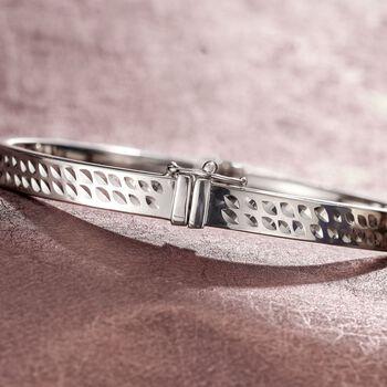 Italian Sterling Silver Beveled Diamond-Cut Bangle Bracelet, , default