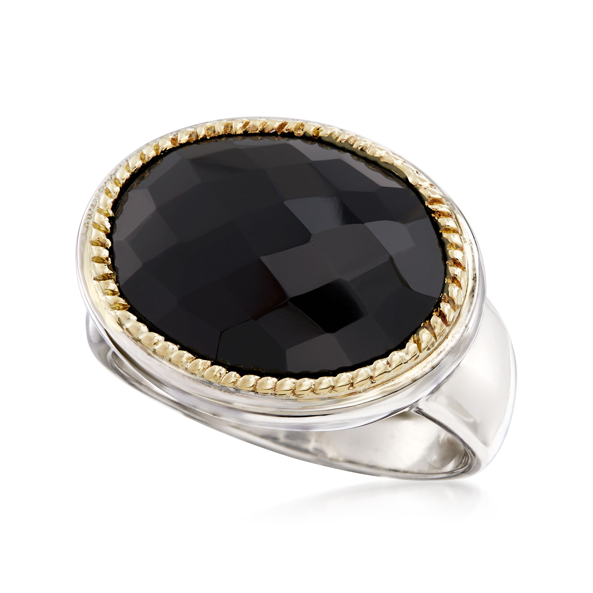 Sterling Silver and 14k Yellow Gold Black Onyx Ring Fine Jewelry Ideal Gifts For Women