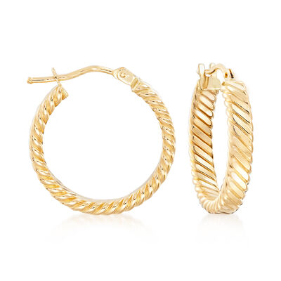 Italian 18kt Yellow Gold Flat Rope Hoop Earrings, , default