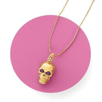Italian 14kt Yellow Gold Skull Pendant with Purple Eyes, , default