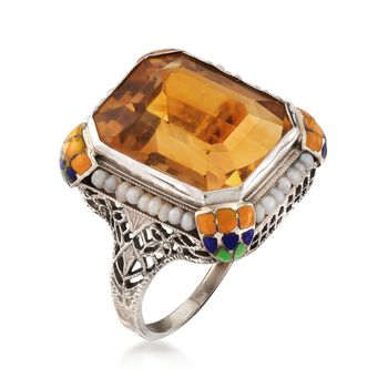 C. 1950 Vintage 8.50 Carat Citrine Ring with Cultured Pearls and Multicolored Enamel in 10kt White Gold. Size 4.25, , default
