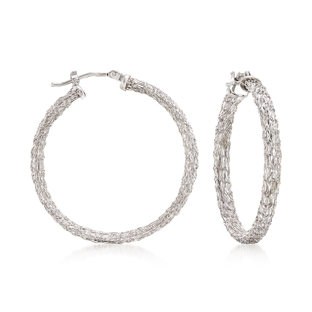 "1b3d9bd1da331a Italian 14kt White Gold Mesh Hoop Earrings. 1 3/8"", , default"
