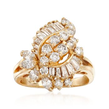 C. 1990 Vintage 1.85 ct. t.w. Diamond Cluster Ring in 14kt Yellow Gold. Size 6, , default