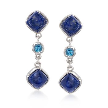 Lapis and .50 ct. t.w. Blue Topaz Drop Earrings in Sterling Silver, , default