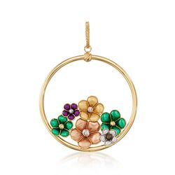 Italian 18kt Multicolored Gold Flower Pendant, , default