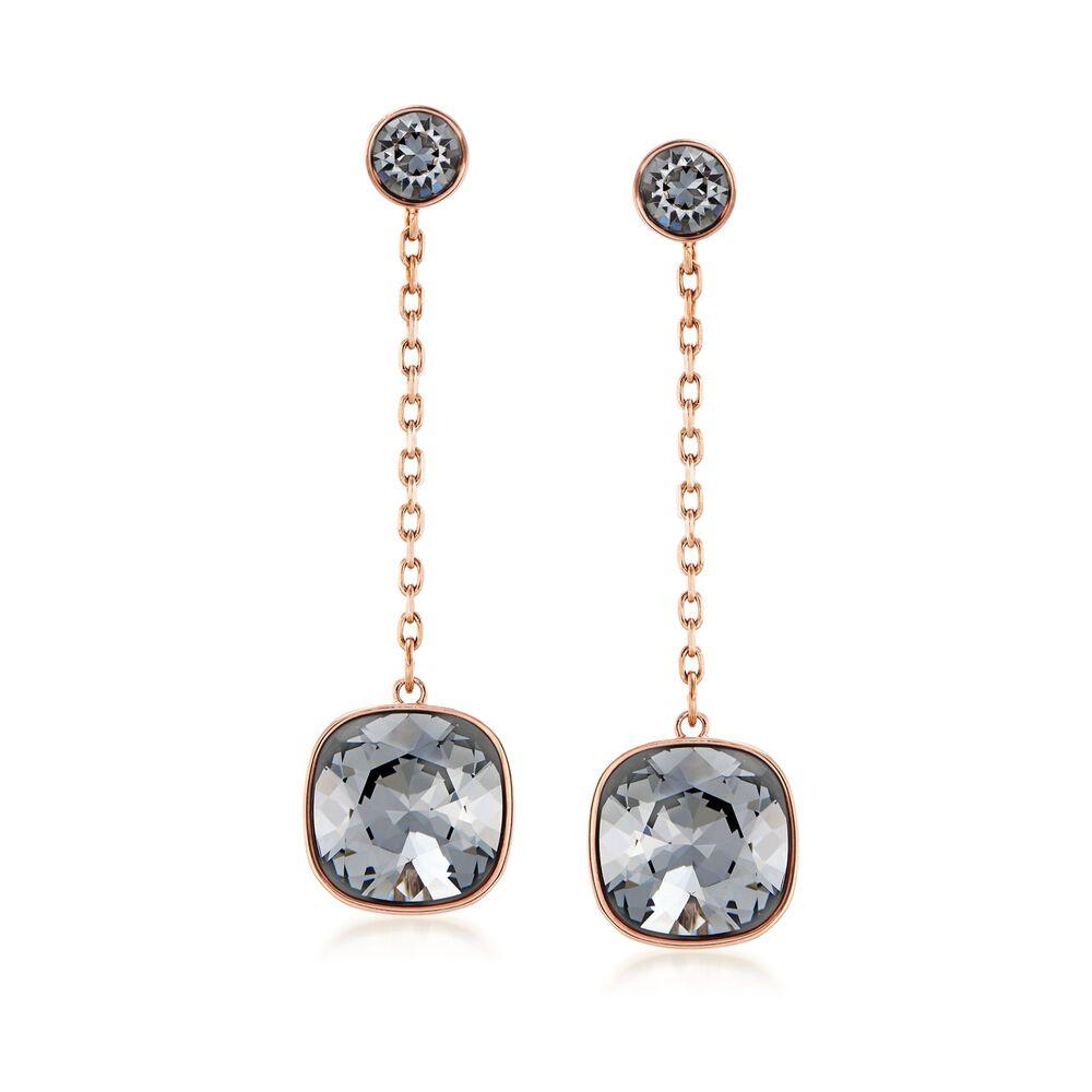 Swarovski Crystal Laude Black Drop Earrings In Gold