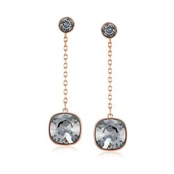 "Swarovski Crystal ""Latitude"" Black Crystal Drop Earrings in Gold Plate , , default"