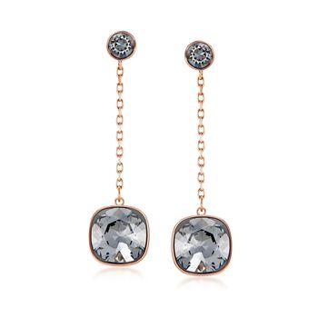 """Swarovski Crystal """"Latitude"""" Black Crystal Drop Earrings in Gold Plate , , default"""