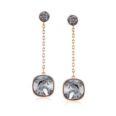 """Swarovski Crystal """"Latitude"""" Black Crystal Drop Earrings in Gold Plate, , default"""