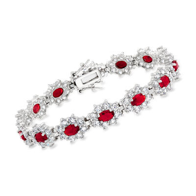 7.00 ct. t.w. Simulated Ruby and 6.00 ct. t.w. CZ Flower Bracelet in Sterling Silver, , default