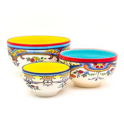 """Euro Ceramica """"Zanzibar"""" Set of 3 Mixing Bowls, , default"""