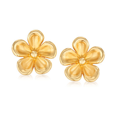 14kt Yellow Gold Concave Flower Stud Earrings, , default