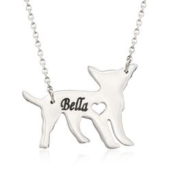 "Sterling Silver Chihuahua Dog Name Necklace. 19"", , default"