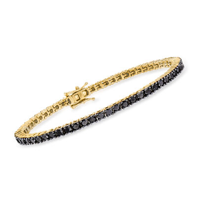5.00 ct. t.w. Black Diamond Tennis Bracelet in 18kt Gold Over Sterling