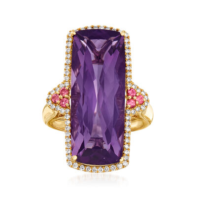 13.00 Carat Purple Amethyst and .36 ct. t.w. Diamond Ring with .10 ct. t.w. Pink Tourmaline in 14kt Yellow Gold