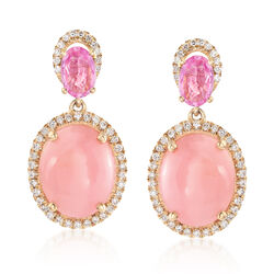 Pink Opal and .90 ct. t.w. Pink Sapphire Drop Earrings With .31 ct. t.w. Diamonds in 14kt Yellow Gold, , default