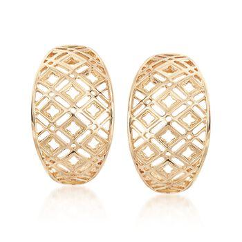 14kt Yellow Gold Open Geometric J-Hoop Earrings, , default