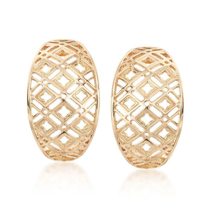 ea4a6a3b6360d 14kt Yellow Gold Open Geometric J-Hoop Earrings | Ross-Simons