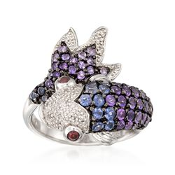 .90 ct. t.w. Amethyst and .40 ct. t.w. Iolite Koi Ring With Diamonds and Garnets in Sterling Silver, , default