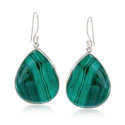 Green Malachite Teardrop Earrings in Sterling Silver, , default